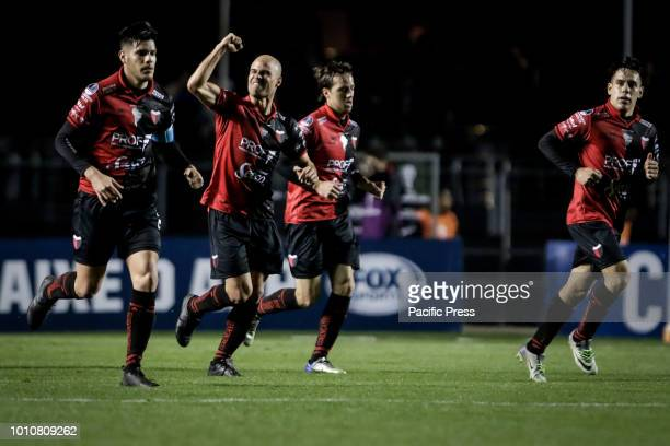 Matías Fritzler scores goal during a game between São Paulo and Colon a match valid for the Copa Sudamericana 2018 in the stadium of Morimbi in São...