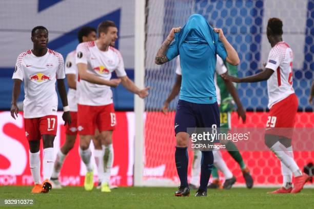 Matías Kranevitter of FC Zenit Saint Petersburg reacts during the UEFA Europa League Round of 16 2nd leg football match between FC Zenit Saint...