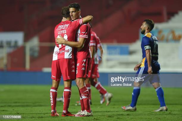 Matías Nani and Nery Leyes of Unión celebrate after winning a match between Union and Boca Juniors as part of Copa de la Liga Profesional 2021 at...