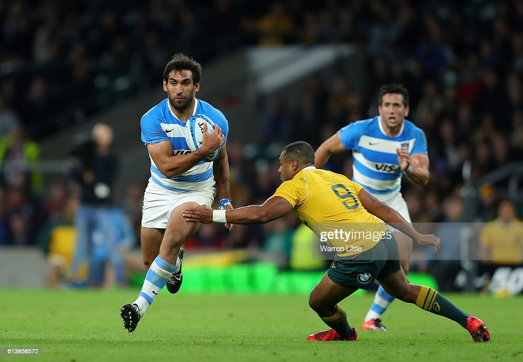 Matías Orlando of Argentina is tackled by Will Genia of Australia during the Rugby Championship match between Argentina and Australia at Twickenham Stadium on October 8, 2016 in London, England.
