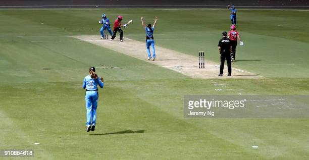 Match action as Ellyse Perry of the Sixers gets bowled during the Women's Big Bash League match between the Adelaide Strikers and the Sydney Sixers...