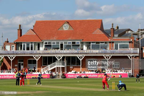 Match Action at Scarborough's North Marine Road Cricket Ground during the Kia Super League match between Yorkshire Diamonds and Lancashire Thunder at...