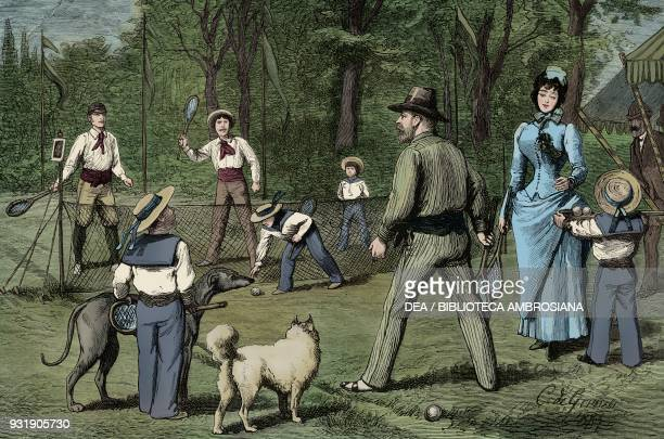 A match at the lawn Tennis Club illustration from The Graphic volume XXVIII no 719 September 8 1883 Digitally colorized image