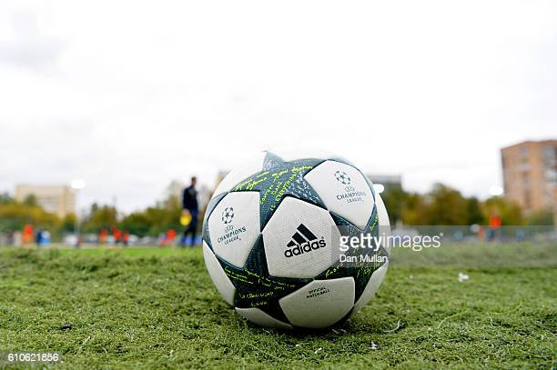 A match ball before the UEFA Champions League Youth match between PFC CSKA Moskva and Tottenham Hotspur FC at Oktyabr Stadium on September 27 2016 in...
