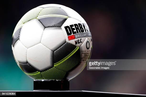 match ball derbystar during the Dutch Jupiler League match between NEC Nijmegen v Telstar at the Goffert Stadium on April 2 2018 in Nijmegen...