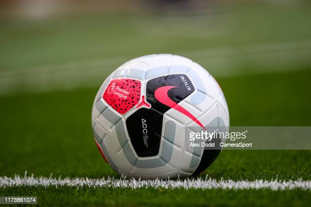 A match ball during the Premier League match between Liverpool FC and Leicester City at Anfield on October 5 2019 in Liverpool United Kingdom
