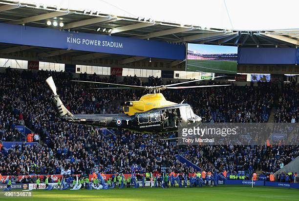 A match ball is delivered by a helicopter prior to the Barclays Premier League match between Leicester City and Watford at The King Power Stadium on...