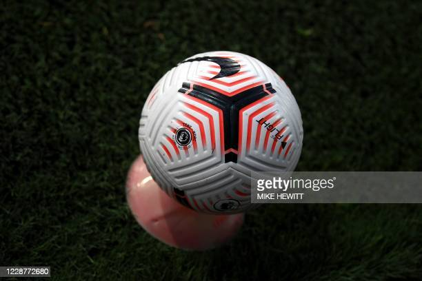 Match ball is pictured during the English Premier League football match between Fulham and Aston Villa at Craven Cottage in London on September 28,...