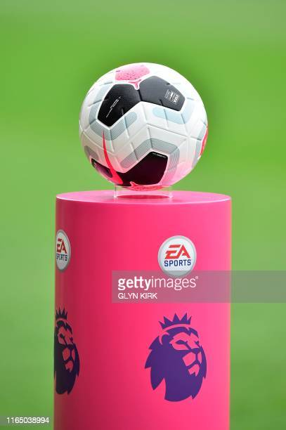 A match ball is seen before the English Premier League football match between Southampton and Manchester United at St Mary's Stadium in Southampton...