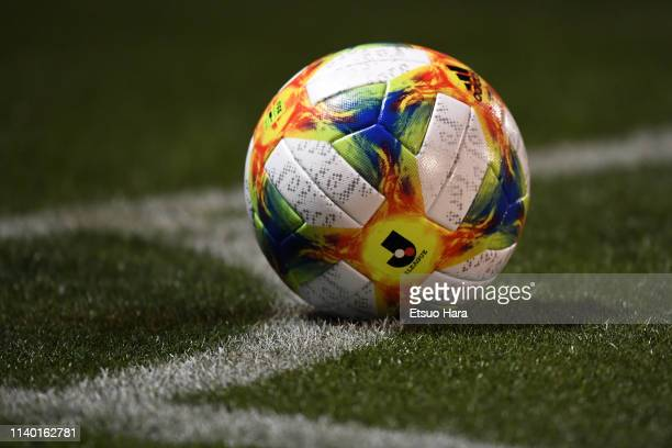 A match ball is seen during the JLeague J2 match between Tokyo Verdy and Mito HollyHock at Ajinomoto Field Nishigaoka on April 03 2019 in Tokyo Tokyo...