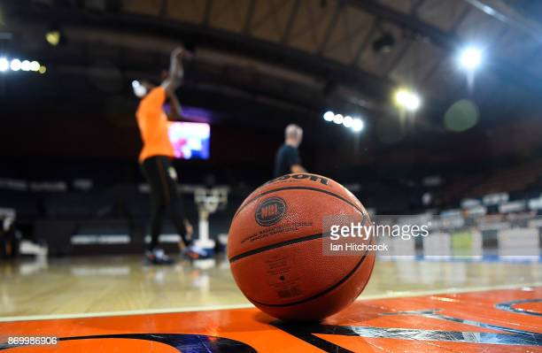A match ball is seen on the court before the start of the round five NBL match between the Cairns Taipans and the New Zealand Breakers at Cairns...
