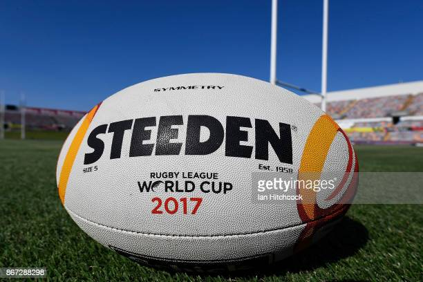 A match ball is seen on the field of play before the start of the 2017 Rugby League World Cup match between Fiji and the United States on October 28...