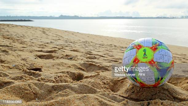 A match ball on Camburi Beach ahead of the FIFA U17 World Cup Brazil 2019 on October 26 2019 in Vitoria Brazil