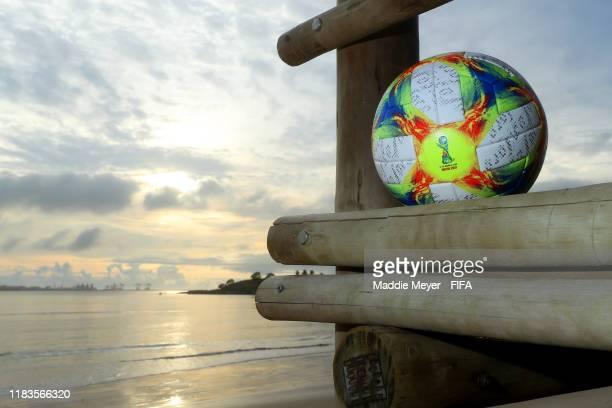 Match ball on Camburi Beach ahead of the FIFA U-17 World Cup Brazil 2019 on October 26, 2019 in Vitoria, Brazil.