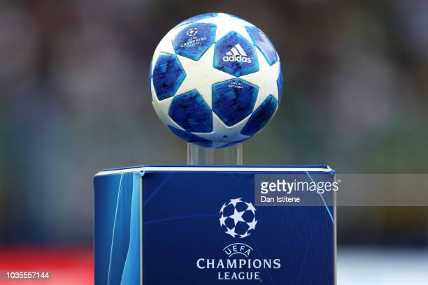 Match ball on display prior to the Group B match of the UEFA Champions League between FC Internazionale and Tottenham Hotspur at San Siro Stadium on...