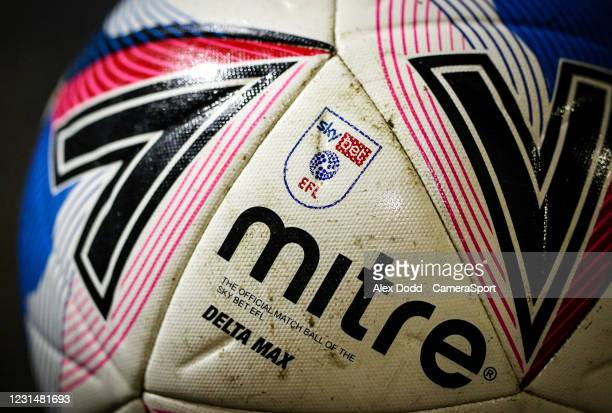 Match ball sits in the stand before the Sky Bet League Two match between Oldham Athletic and Bolton Wanderers at Boundary Park on March 2, 2021 in...