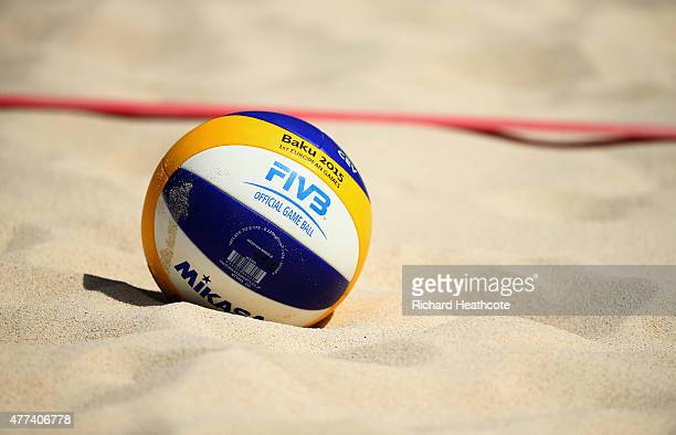Match ball sits on the sand during the Beach Volleyball Group matches during day five of the Baku 2015 European Games at the Beach Arena on June 17,...