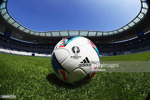 A match ball sits on the turf inside the stadium ahead of the UEFA Euro 2016 at Stade de France on June 9 2016 in Paris France France and Romania...