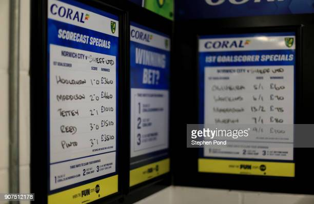 Match betting odds are seen in the stadium ahead of the Sky Bet Championship match between Norwich City and Sheffield United at Carrow Road on...