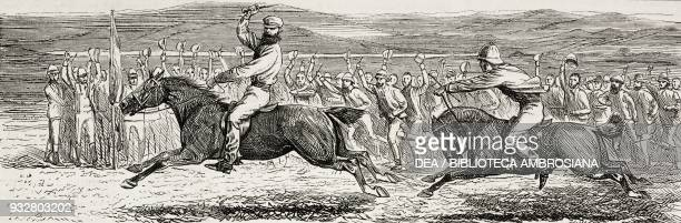 A match between Lord Brougham and Shere Ali racing at Khost Second AngloAfghan War illustration from the magazine The Graphic volume XIX no 489 April...