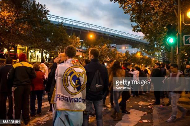 match day in santiago bernabeu stadium - real madrid soccer team stock pictures, royalty-free photos & images