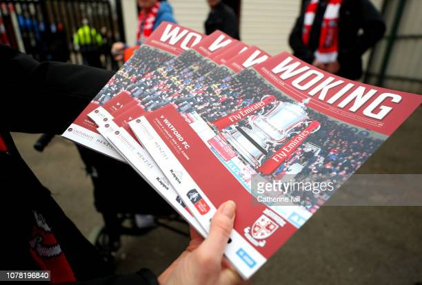 Match day programmes are seen prior to the FA Cup Third Round match between Woking and Watford at Kingfield Stadium on January 6 2019 in Woking...
