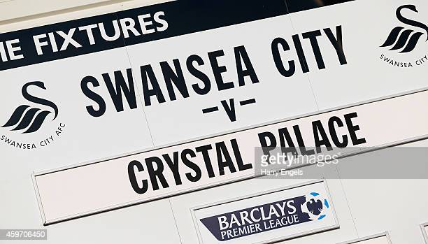 Match details prior to the Barclays Premier League match between Swansea City and Crystal Palace at Liberty Stadium on November 29 2014 in Swansea...