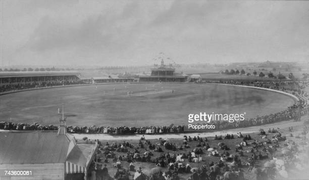 A match in progress at Sydney Cricket Ground Sydney Australia circa 1880