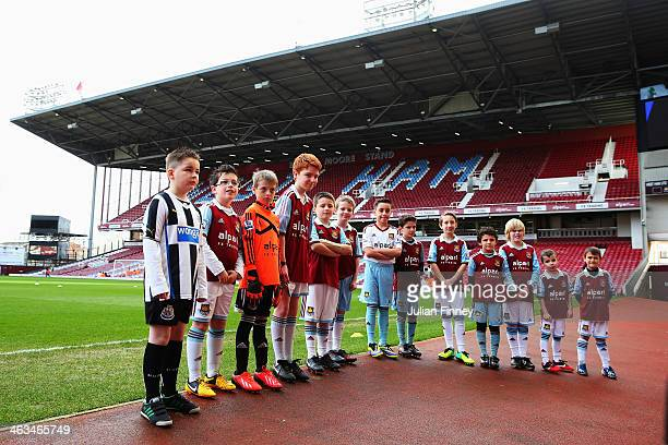 Match mascots are seen before the Barclays Premier League match between West Ham United and Newcastle United at the Boleyn Ground on January 18 2014...