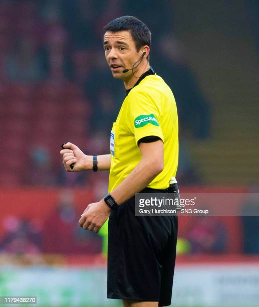 Match official Kevin Clancy is pictured during the Ladbrokes Premiership match between Aberdeen and Kilmarnock, at Pittodrie, on November 02, in...