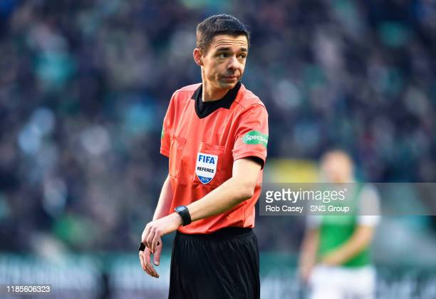 Match official Kevin Clancy is pictured during the Ladbrokes Premiership match between Hibernian and Kilmarnock at Easter Road, on November 30 in...