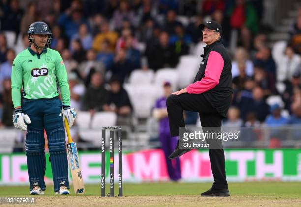Match official Nick Cook signals a leg bye during The Hundred match between Northern Superchargers Men and Oval Invincibles Men at Emerald Headingley...