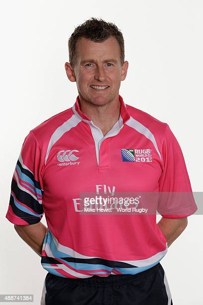 Match official Nigel Owens poses for a portrait during Rugby World Cup 2015 Match officials photo call at the Landmark Hotel on September 17 2015 in...