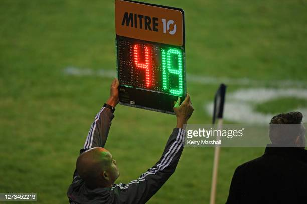 Match official signals a substitution during the round 2 Mitre 10 Cup match between Bay of Plenty and Southland at Rotorua International Stadium on...