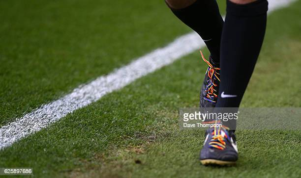 A match official wears rainbow laces during the Sky Bet Championship match between Aston Villa and Cardiff City at Villa Park on November 26 2016 in...