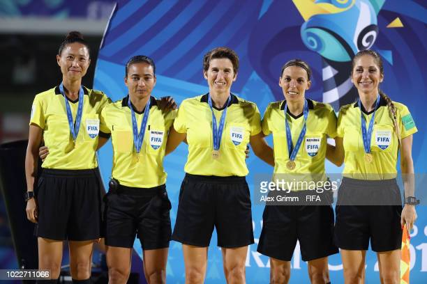 Match officials pose after the FIFA U-20 Women's World Cup France 2018 Final match between Spain and Japan at Stade de la Rabine on August 24, 2018...