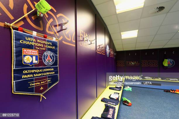 A match pennant hangs in the Paris Saint Germain dressing room prior to the UEFA Women's Champions League Final between Lyon and Paris Saint Germain...