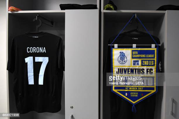 A match pennant is seen in the dressing room of FC Porto prior to the the UEFA Champions League Round of 16 second leg match between Juventus and FC...