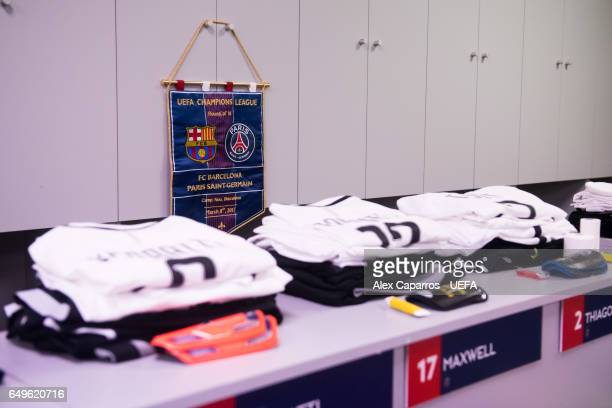 A match pennant is seen in the dressing room of Paris SaintGermain ahead of the UEFA Champions League Round of 16 second leg match between FC...