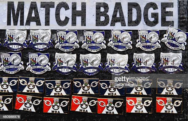 Match pin badges for sale prior to the FA Cup Third Round match between West Bromwich Albion and Gateshead at The Hawthorns on January 3 2015 in West...