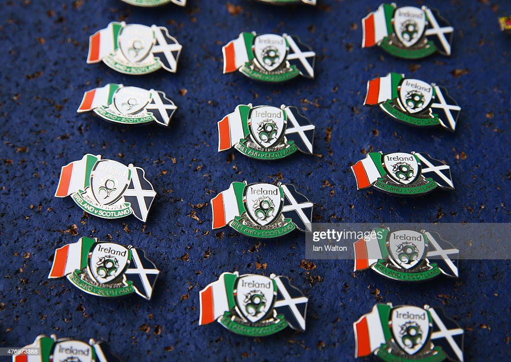 Match pin badges on display prior to the UEFA EURO 2016 Qualifier