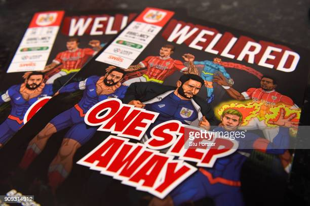 A match programme is seen prior to the Carabao Cup semifinal second leg match between Bristol City and Manchester City at Ashton Gate on January 23...