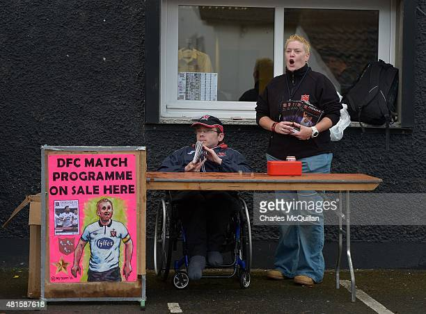 Match programme sellers pictured before the Champions League 2nd round qualifying game between Dundalk FC and BATE Borisov at Oriel Park on July 22...