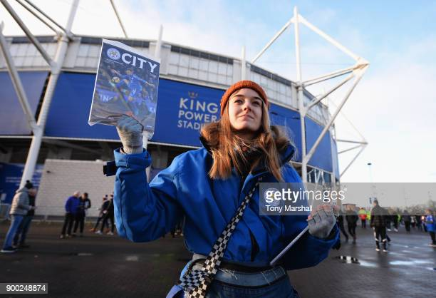 Match programmes are sold prior to the Premier League match between Leicester City and Huddersfield Town at The King Power Stadium on January 1 2018...