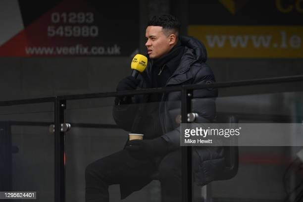 Match Pundit, Jermaine Jenas commentates during the FA Cup Third Round match between Crawley Town and Leeds United at The Peoples Pension Stadium on...