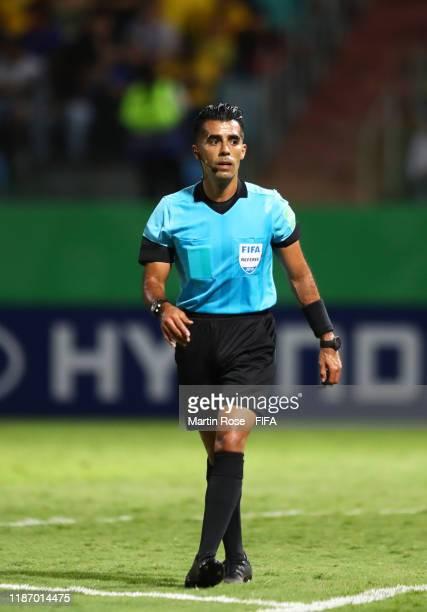 Match Referee Adonai Escobedo during the FIFA U-17 World Cup Quarter Final match between Italy and Brazil at the Estádio Olímpico Goiania on November...