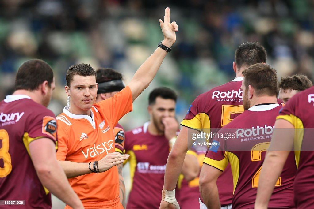 Match referee Angus Mabey during the round one Mitre 10 Cup match between the Hawke's Bay and Southland at McLean Park on August 19, 2017 in Napier, New Zealand.