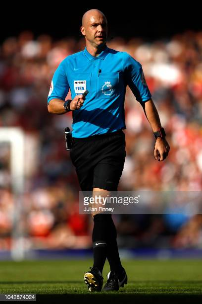 Match Referee Anthony Taylor looks on during the Premier League match between Arsenal FC and Watford FC at Emirates Stadium on September 29 2018 in...