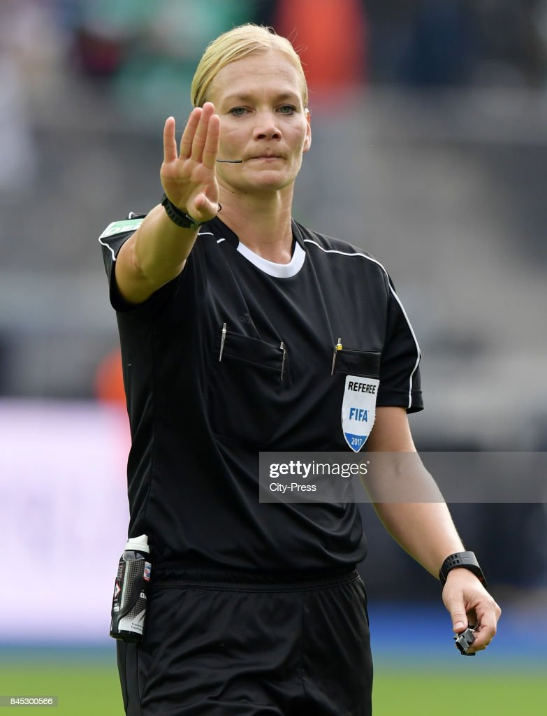 Match referee Bibiana Steinhaus during the game between Hertha BSC and Werder Bremen on September 10, 2017 in Berlin, Germany.
