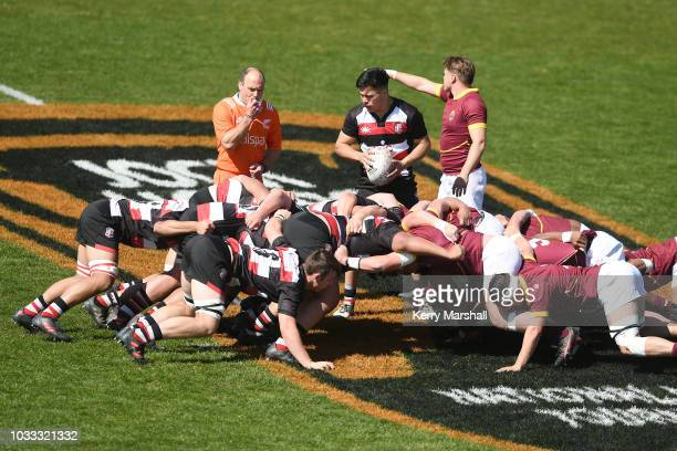 Match referee Chris Paul sets a scrum between Counties Manukau and Southland during the Jock Hobbs U19 Rugby Tournament on September 15 2018 in Taupo...